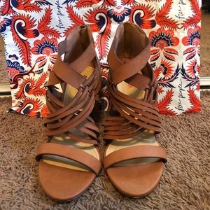 Cognac Heeled Sandals sz 8